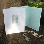 Scroll Floral Pocket Cross Communion Laser Cut Fold Over